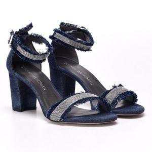 Stuart Weitzman Chaingang Denim High Heel Sandals